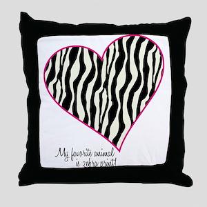 Zebra Print Heart Throw Pillow