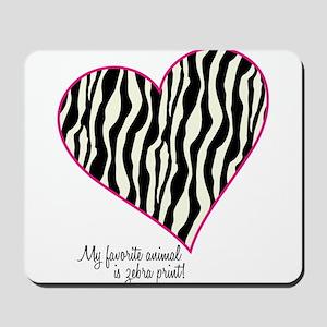 Zebra Print Heart Mousepad
