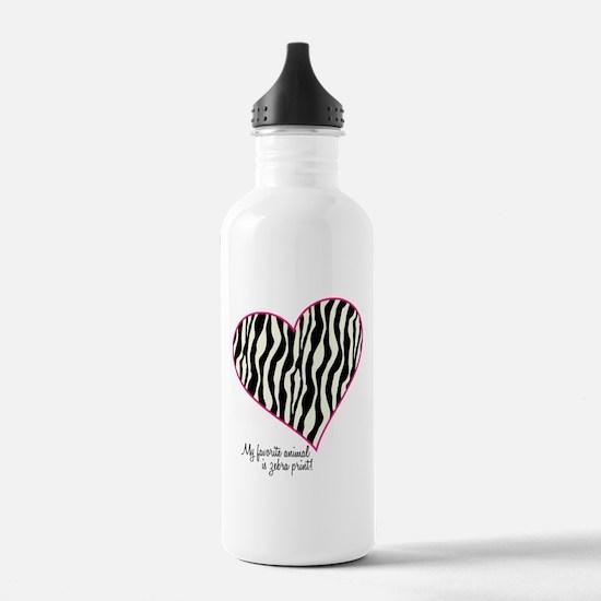Zebra Print Heart Water Bottle