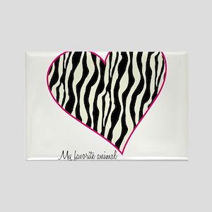 Zebra Print Heart Rectangle Magnet