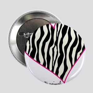 "Zebra Print Heart 2.25"" Button"