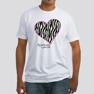 Zebra Print Heart Fitted T-Shirt