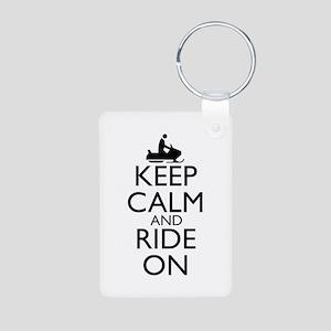 Keep Calm and Ride On Aluminum Photo Keychain