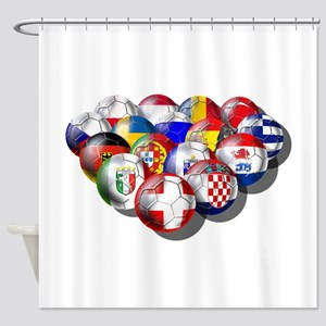 Europe Soccer Shower Curtain