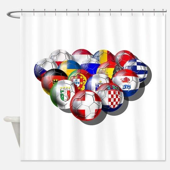 Europe Soccer Shower Curtain
