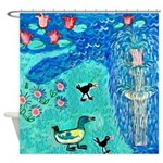 Fountain, Duck and Moorhens Shower Curtain