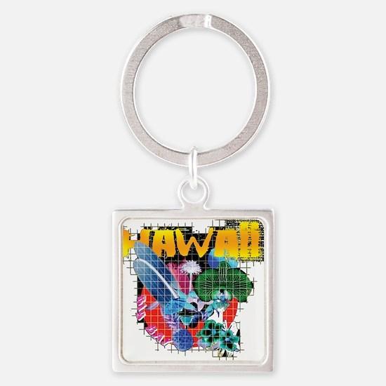 Hawaii Graphic Square Keychain