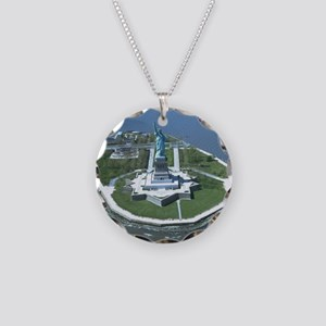Statue of Liberty Aerial Pho Necklace Circle Charm