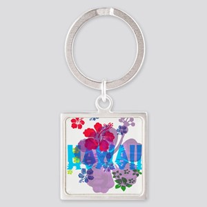 Hawaii Hibiscus Square Keychain
