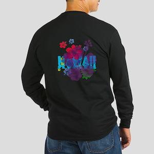 Hawaii Hibiscus Long Sleeve Dark T-Shirt
