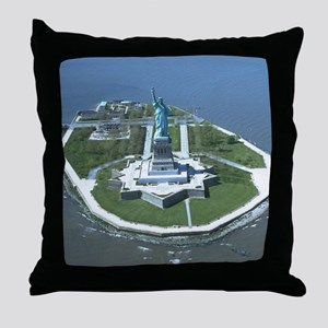 Statue of Liberty Aerial Photograph Throw Pillow