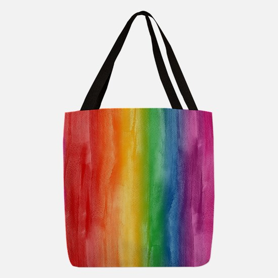 Watercolor Rainbow Stripes Polyester Tote Bag