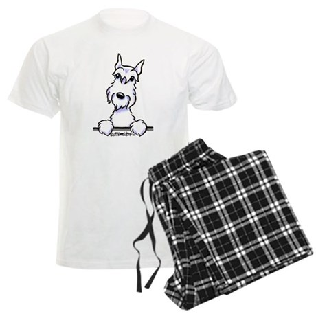 White Schnazuer Paws Up Men's Light Pajamas