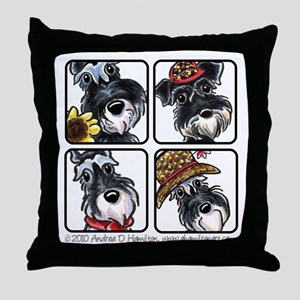 Four Schnauzers Throw Pillow