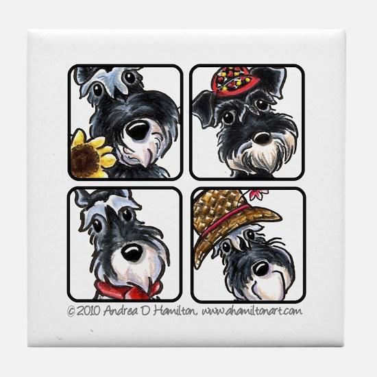 Four Schnauzers Tile Coaster