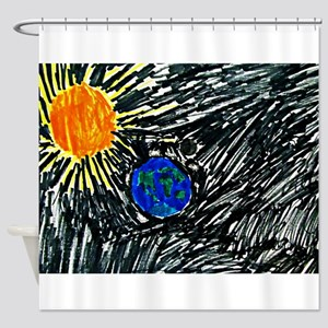 The Sun and the Earth Shower Curtain