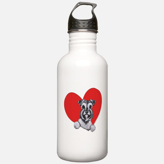 Schnauzer in Heart Water Bottle