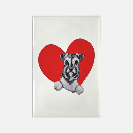 Schnauzer in Heart Rectangle Magnet (100 pack)