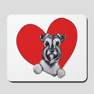 Schnauzer in Heart Mousepad