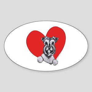 Schnauzer in Heart Sticker (Oval)