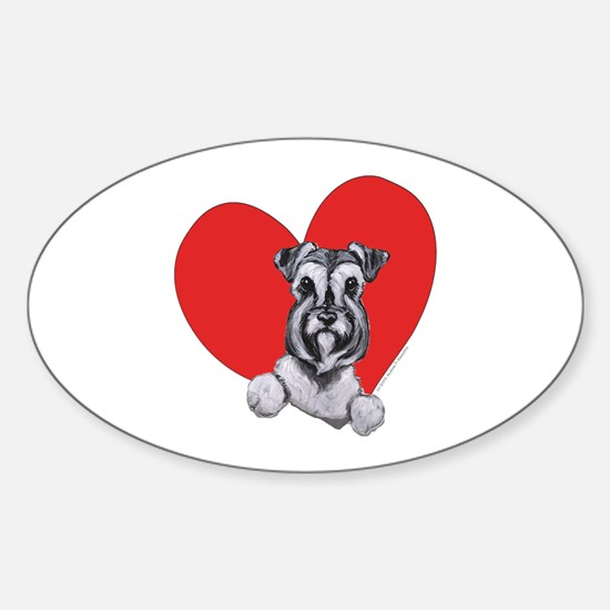 Schnauzer in Heart Sticker (Oval)
