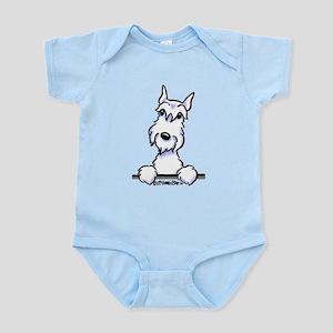 White Schnazuer Paws Up Infant Bodysuit
