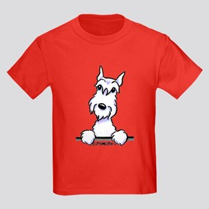 White Schnazuer Paws Up Kids Dark T-Shirt