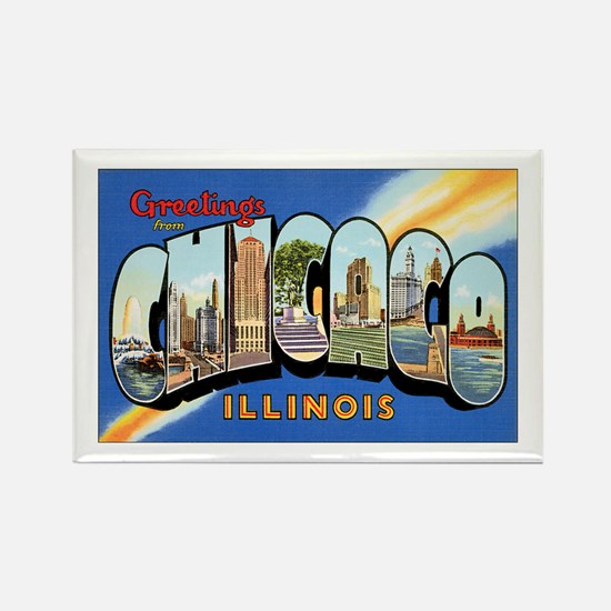 Chicago Illinois Greetings Rectangle Magnet (10 pa