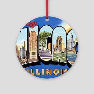 Chicago Illinois Greetings Ornament (Round)