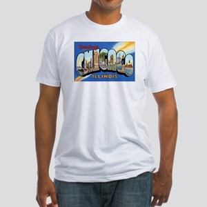 Chicago Illinois Greetings (Front) Fitted T-Shirt
