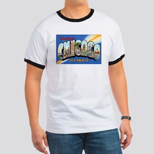Chicago Illinois Greetings (Front) Ringer T