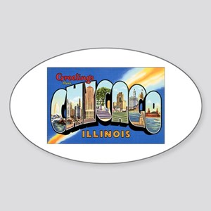 Chicago Illinois Greetings Oval Sticker