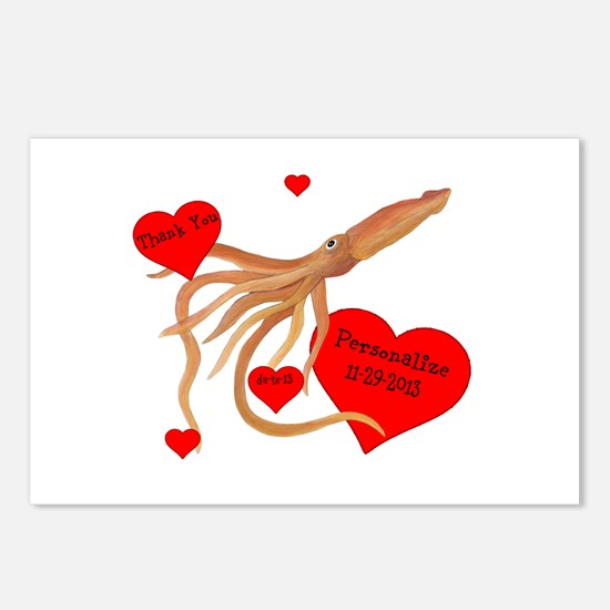 Personalized Squid Postcards (Package of 8)