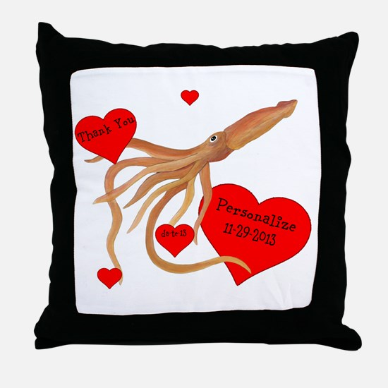 Personalized Squid Throw Pillow