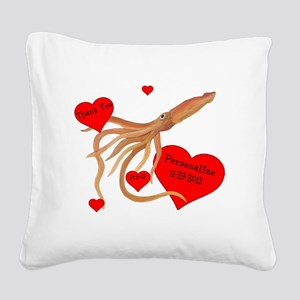 Personalized Squid Square Canvas Pillow