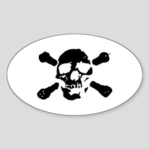 Pirate Skull Oval Sticker