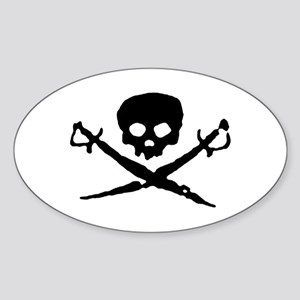 Jolly Roger Pirate Oval Sticker