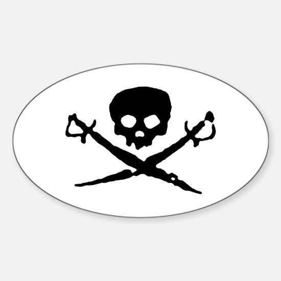 Jolly Roger Pirate Oval Decal