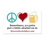 Peace, Love & Beer Car Magnet