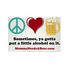 Peace, Love & Beer Magnet