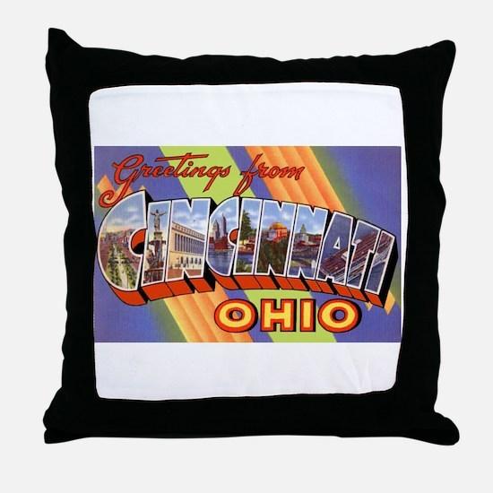 Cincinnati Ohio Greetings Throw Pillow