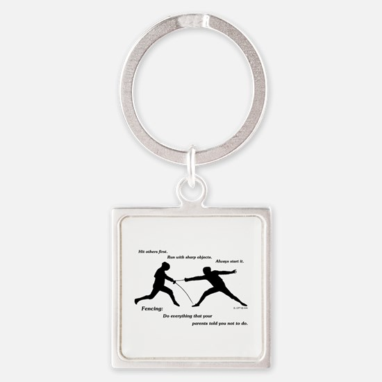 Hit First Square Keychain