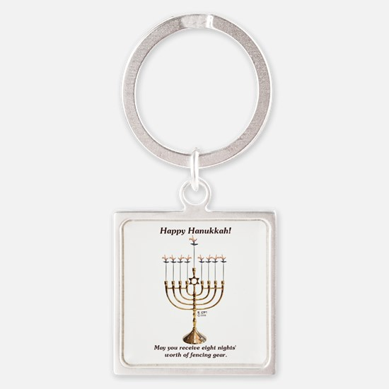 Fencing Hanukkah Square Keychain