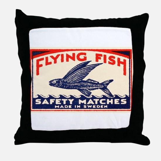Antique Flying Fish Swedish Matchbox Label Red Thr