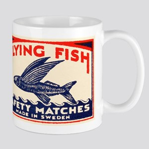 Antique Flying Fish Swedish Matchbox Label Red Mug