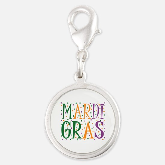 MARDI GRAS Silver Round Charm