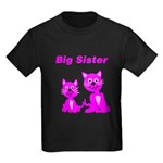 Big Sister Pink Kittens Kids Dark T-Shirt