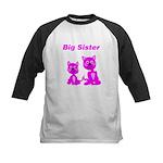 Big Sister Pink Kittens Kids Baseball Jersey