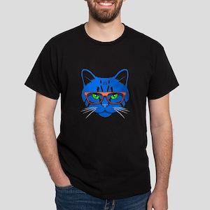Hipster Cat Neon Blue Dark T-Shirt