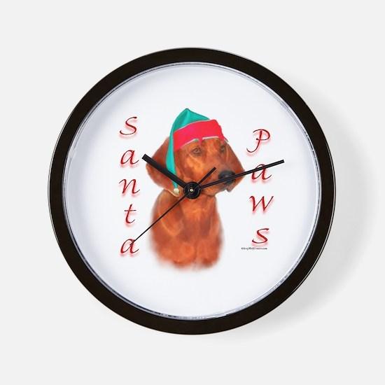 Santa Paws Redbone Wall Clock